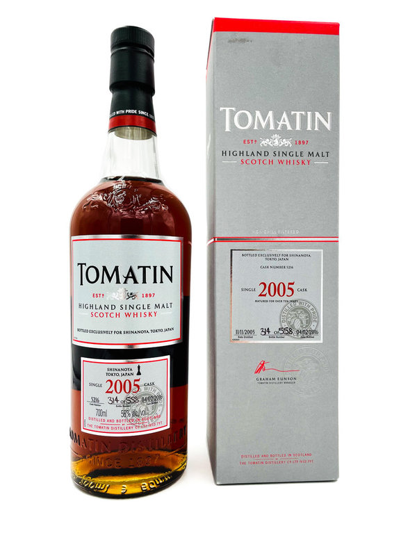 Tomatin 2005/2016 - 1st Fill Oloroso Sherry Butt #5216 for Shinanoya