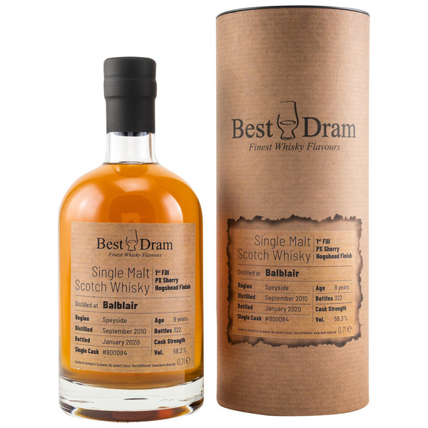 Balblair 2010/2020 - Best Dram (BD) - 1st Fill PX Sherry Hogshead Finish