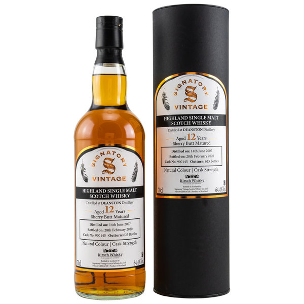 Deanston 2007/2020 - Sherry Butt 900145 - Cask Strength - Signatory Vintage (SV) for Kirsch