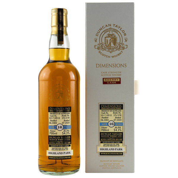 Highland Park 2004/2020  - Ex Sherry Cask 501710910 - Dimensions Duncan Taylor