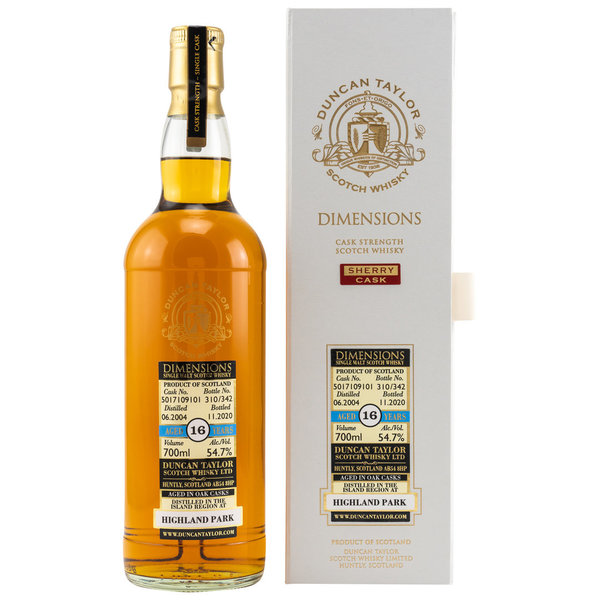 Highland Park 2004/2020  - Ex Sherry Cask 5017109101 - Dimensions Duncan Taylor