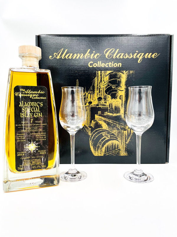 Alambic's Special Islay Gin 2014/2021 - Ex Bowmore Octave Barrel - Geschenk-Set